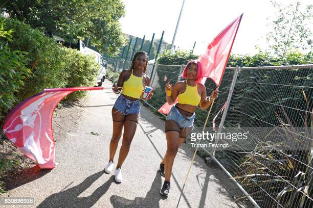 Dancers backstage at the 'Red Bull Music Academy Soundsystem' at Notting Hill Carnival 2017 on August 27 2017 in London England