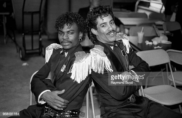 Dancers Boogaloo Shrimp and Shabbadoo poses for photos backstage at the UIC Pavilion in Chicago Illinois in October1986