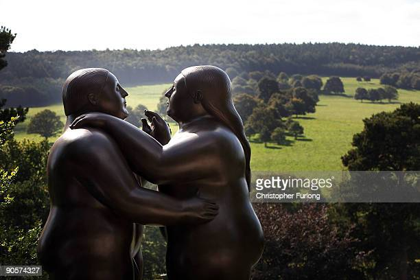 Dancers by artist Fernando Botero adorn the gardens of Chatsworth House on September 10 Chatsworth England World renowned artists Antony Gormley...