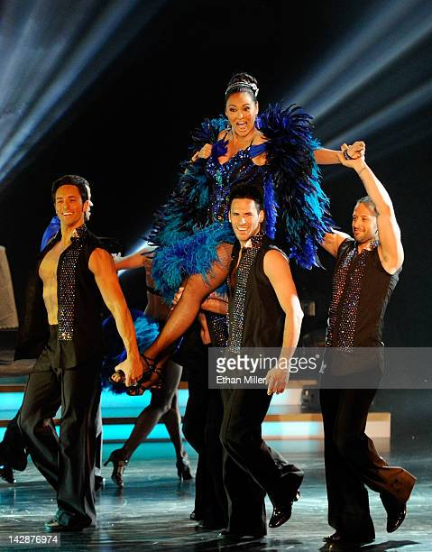 Dancers carry actress Tia Carrere during the grand opening of Dancing With the Stars Live in Las Vegas at the New Tropicana Las Vegas April 13 2012...