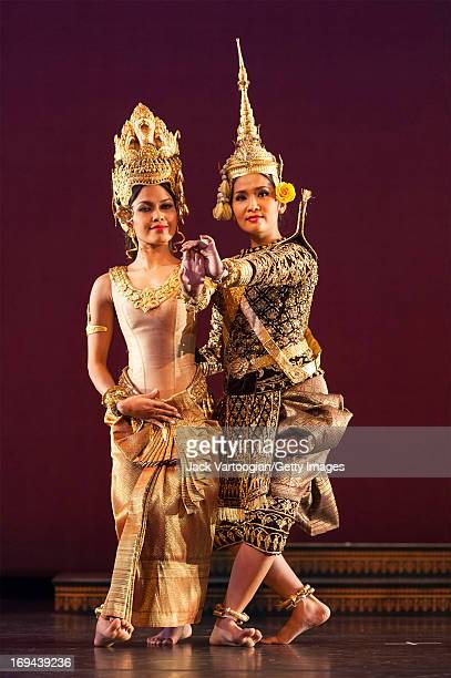 Dancers Chap Chamroeunmina and Chen Chansoda , both of the Royal Ballet of Cambodia, perform in the BAM/Seasons of Cambodia production of 'The Legend...