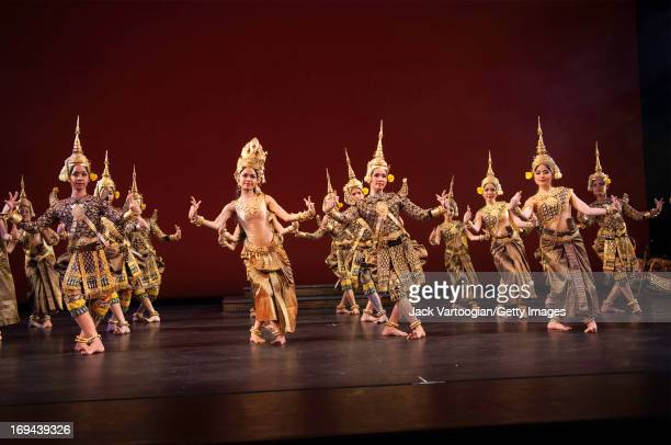 Dancers Chap Chamroeunmina Chen Chansoda and unidentified others all of the Royal Ballet of Cambodia perform in the BAM/Seasons of Cambodia...