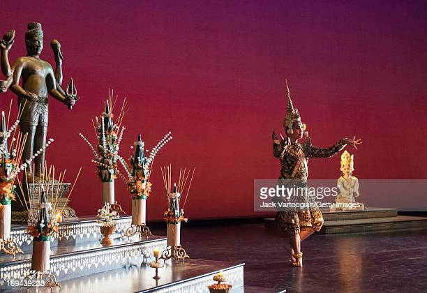Dancers Chen Chansoda and Chap Chamroeunmina , both of the Royal Ballet of Cambodia, perform in the BAM/Seasons of Cambodia production of 'The Legend...