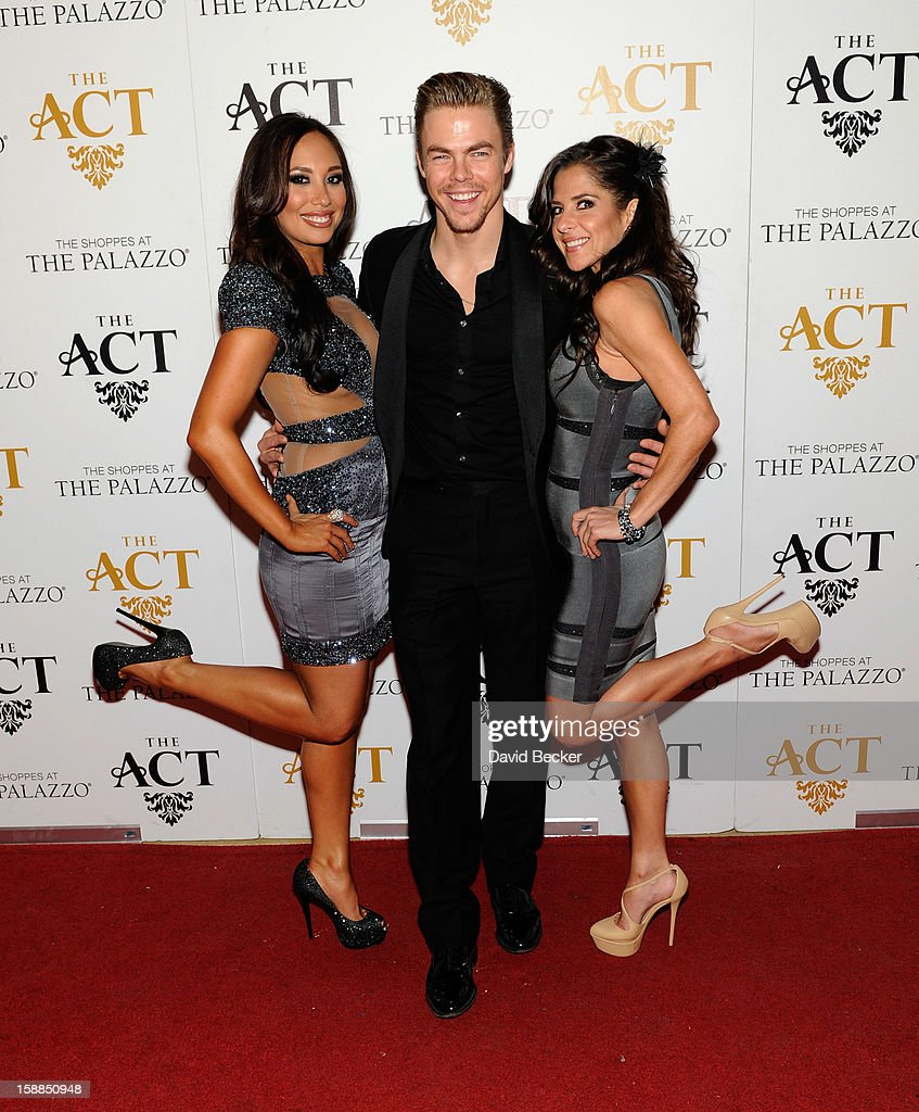 Dancers Cheryl Burke, Derek Hough and actress Kelly Monaco arrive at the New Year's Eve celebration at The Act at The Palazzo on December 31, 2012 in Las Vegas, Nevada.