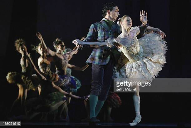 Dancers Clair Robertson and Erik Cavallari from the Scottish Ballet perform during a dress rehearsal for their current production of 'Sleeping...