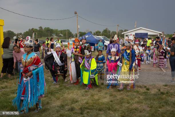 Dancers compete at an annual powwow to honor veterans from the Sioux Lakota tribe on June 8 2018 on the Pine Ridge reservation in South Dakota