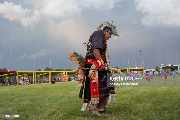 Dancers compete at an annual powwow to honor veterans from the Sioux Lakota tribe on June 8, 2018 on the Pine Ridge reservation in South Dakota.