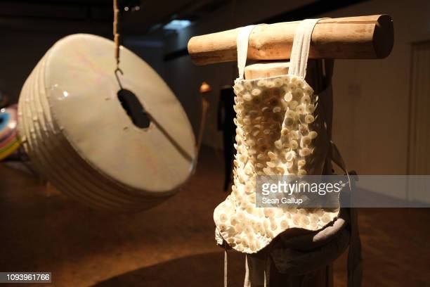 Dancers' costumes from the 1920s dance group Triadisches Ballett hang on display at 'Bauhaus 100 Years The Opening Festival' '100 Jahre Bauhaus Das...
