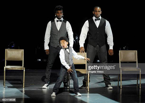 "Dancers Cyrus ""Glitch"" Spencer, Stephen ""tWitch"" Boss and Miles ""Baby Boogaloo"" Brown perform onstage during Dizzy Feet Foundation's Celebration Of..."