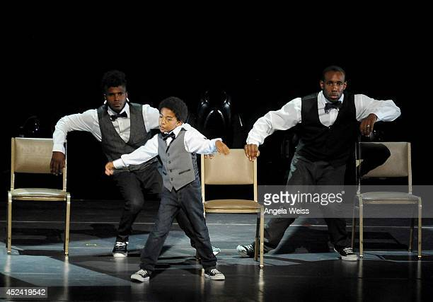 """Dancers Cyrus """"Glitch"""" Spencer, Stephen """"tWitch"""" Boss and Miles """"Baby Boogaloo"""" Brown perform onstage during Dizzy Feet Foundation's Celebration Of..."""