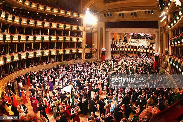 Dancers dance in the opera house at a traditional opera ball in Vienna on January 31 2008 in Vienna Austria