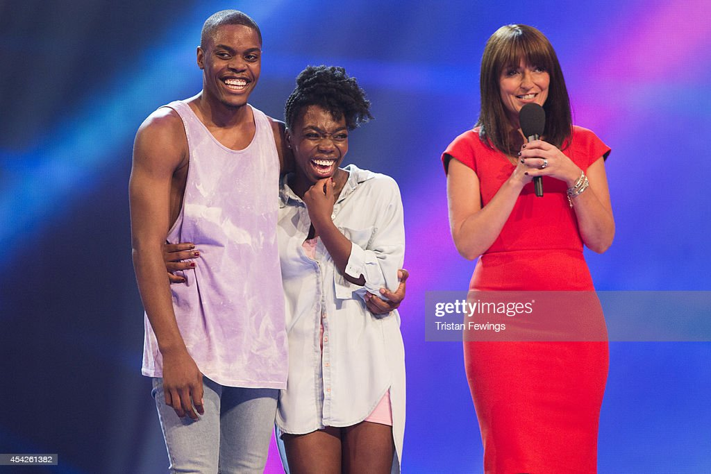 Dancers Dan-I & Sia and Davina McCall on stage during the third live show of 2014's 'Got To Dance' at Earls Court on August 27, 2014 in London, England.