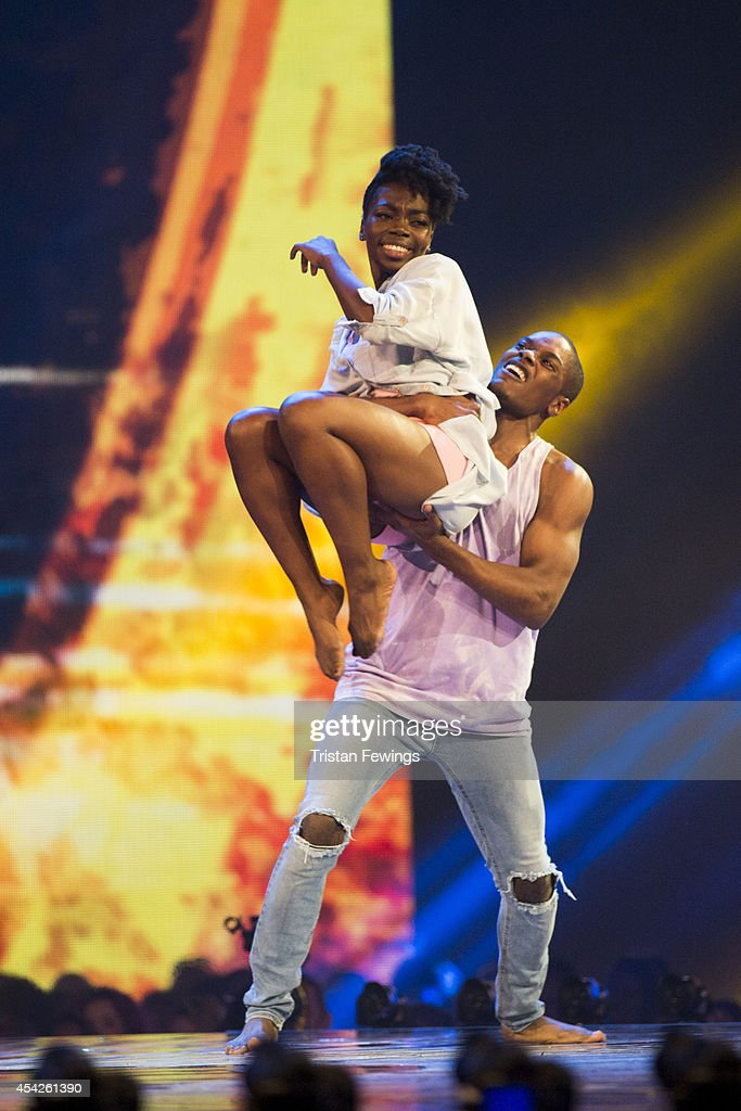 Dancers Dan-I & Sia perform during the third live show of 2014's 'Got To Dance' at Earls Court on August 27, 2014 in London, England.