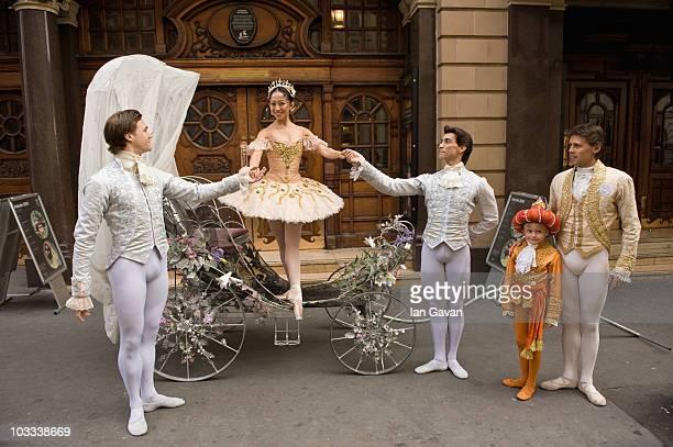 Dancers Daniel Kraus Max Westwell Erina Takahashi Dmitri Gruzdyev and Nicolas Gruzdyev from the English National Ballet's production of 'Cinderella'...