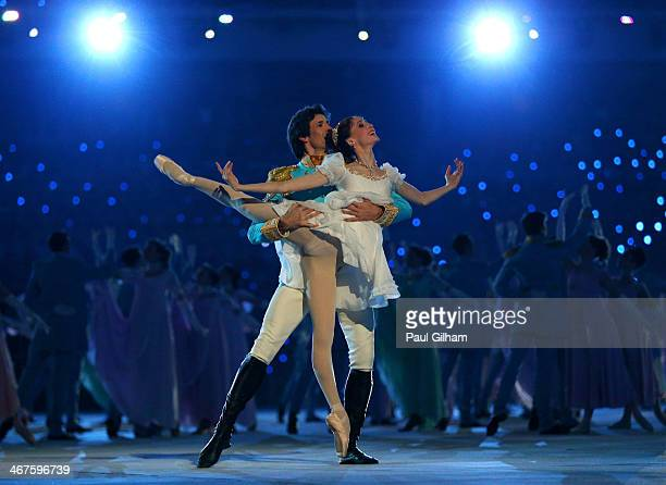 Dancers Danila Korsuntsev and Svetlana Zakharova perform during the Opening Ceremony of the Sochi 2014 Winter Olympics at Fisht Olympic Stadium on...