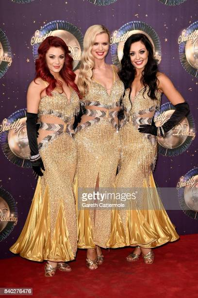 Dancers Dianne Buswell Nadiya Bychkova and Amy Dowden attend the 'Strictly Come Dancing 2017' red carpet launch at The Piazza on August 28 2017 in...