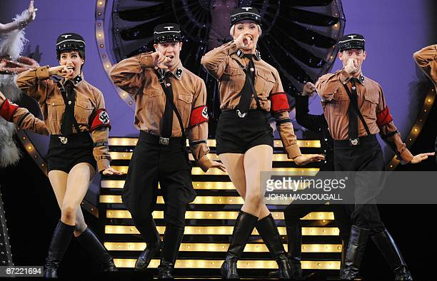 Dancers dressed as Nazi SS officers perform during the Springtime for Hitler number of the musical The Producers at Berlin's Admiral's Palast theatre...