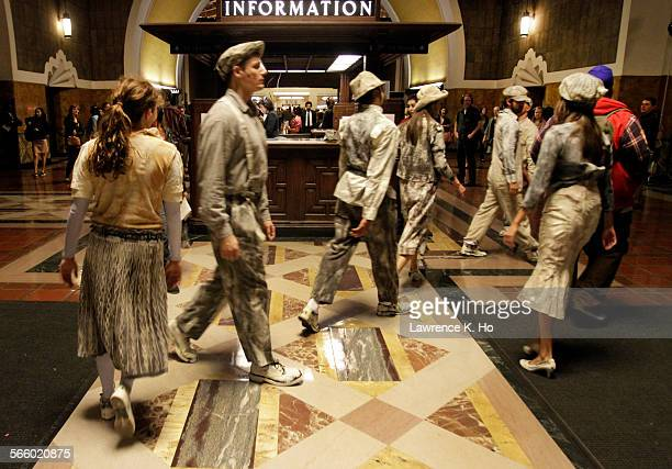 Dancers during dress rehearsal of the opera Invisible Cities in Union Station in Los Angeles on Oct 17 2013 Invisible Cities The Industry's new opera...
