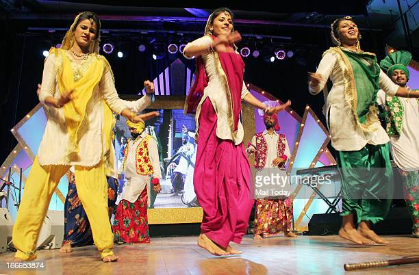 Dancers during the Baisakhi celebration in Mumbai on Friday night
