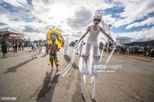 ESPAGNE TRINIDAD AND TOBAGO FEBRUARY 28 Dancers during the carnival at the Socadrome in PortDEspagne on February 28 2017
