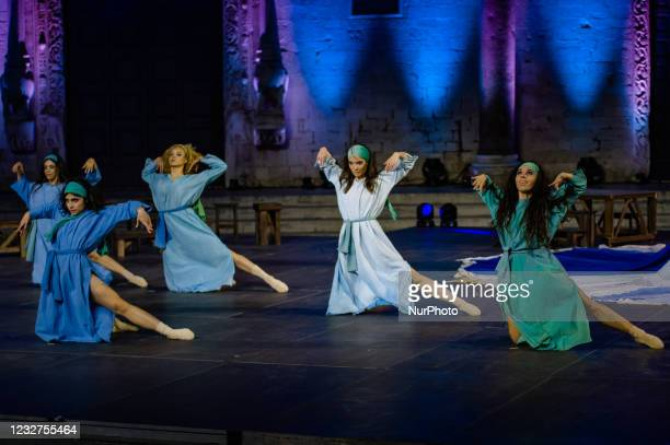 Dancers during the show on the occasion of the Feast of San Nicola in front of the Basilica of San Nicola in Bari on May 7, 2021. The Basilica of San...