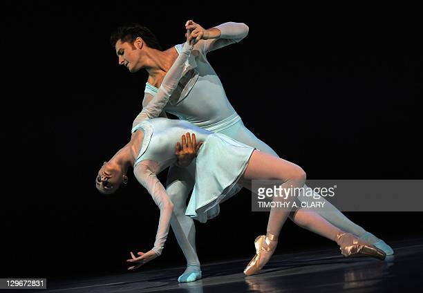 Dancers Elisabeth Holowchuk and Kirk Henning with the Suzanne Farrell Ballet perform a scene from 'Haieff Divertimento' during a dress rehearsal on...