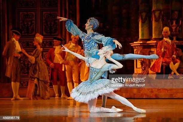 Dancers Emmanuel Thibault rear and Eve Grinsztajn perform Rudolf Nureyev's 'Sleeping Beauty' within the 'Reves d'Enfants' Arop charity event at Opera...