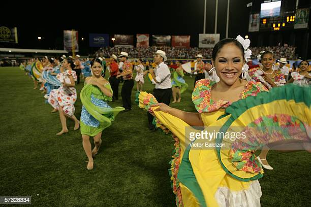 Dancers entertain the crowd before the game between Puerto Rico and Cuba on March 15 2006 at Hiram Bithorn Stadium in San Juan Puerto Rico Cuba...