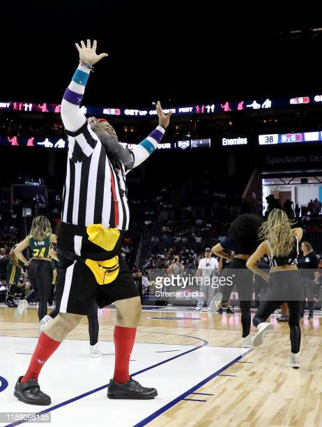Dancers entertain the crowd during week two of the BIG3 three on three basketball league at Spectrum Center on June 29, 2019 in Charlotte, North...