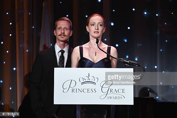 Dancers Ethan Stiefel and Gillian Murphy speak onstage during the 2016 Princess Grace Awards Gala with presenting sponsor Christian Dior Couture at...
