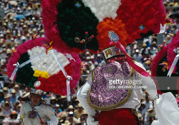 Dancers Feather dance during the celebrations at the Guelaguetza festival Oaxaca Mexico