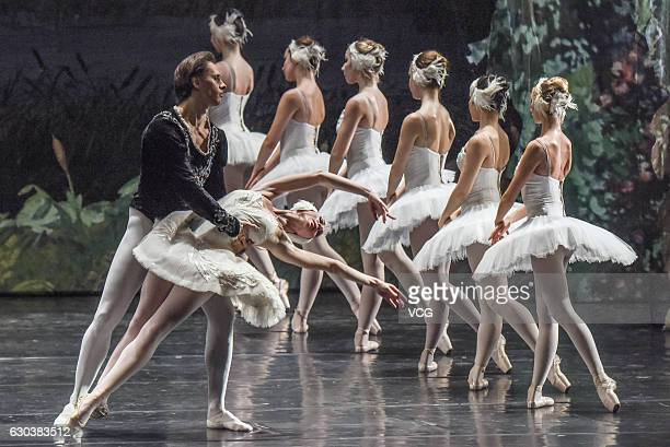 Dancers from a ballet theatre of Saint Petersburg perform during the ballet Swan Lake on December 20 2016 in Nanning Guangxi Province of China