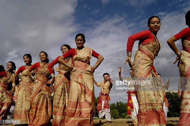 Dancers from Assam performing Bihu dance Gujarat India