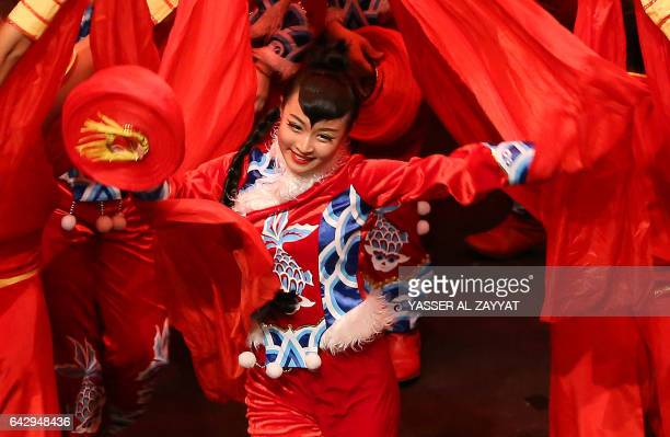 Dancers from China's Inner Mongolia Art Troupe perform at the Abdulhusain Abdulredha theatre in Kuwait City on February 19 2017 / AFP / Yasser...