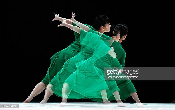 Dancers from Cloud Gate 2 perform Triple Bill during a photocall at Sadlers Wells Theatre on November 21, 2016 in London, England.