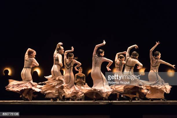 Dancers from Flamenco company Maria Pages Compania perform on stage at Edinburgh Playhouse during a photocall for the show 'Yo, Carmen' during the...