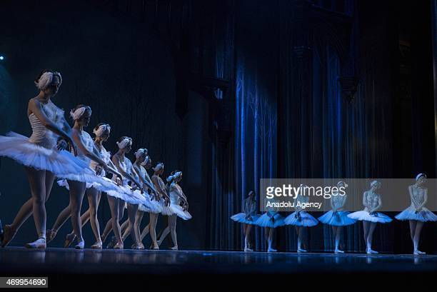 Dancers from Joburg of South Africa and Liaoning Ballet of China perform on stage during a rehearsal of 'Swan Lake' at Joburg Theatre in Johannesburg...