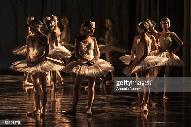 Dancers from Joburg of South Africa and Liaoning Ballet of China seen on backstage ahead of a rehearsal of 'Swan Lake' at Joburg Theatre in...