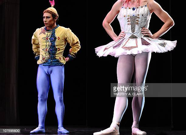 Dancers from Les Ballets Trockadero de Monte Carlo line up before they perform a scene from Raymonda's Wedding during the dress rehearsal before the...