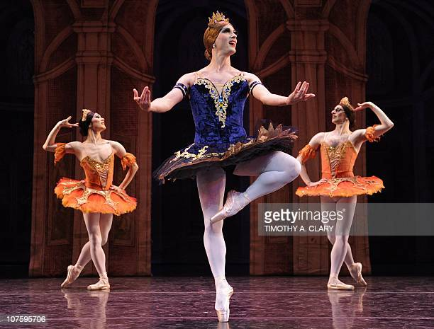 Dancers from Les Ballets Trockadero de Monte Carlo perform a scene from Raymonda's Wedding during the dress rehearsal before the opening night at the...