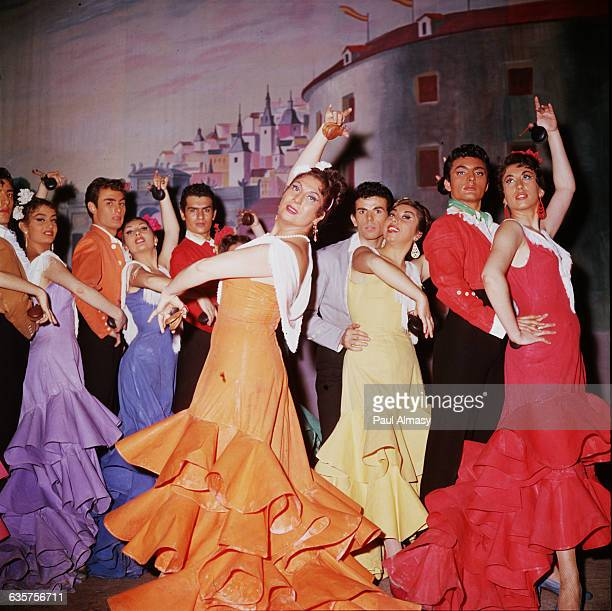 Dancers from Pilar Lopez's dance troupe perform the Flamenco at a cabaret.