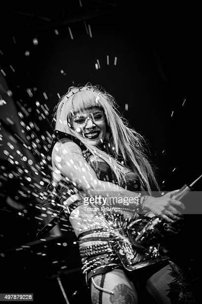 Dancers from Pyrohex perform on stage during the annual Sexpo convention at Olympia Exhibition Centre on November 13 2015 in London England