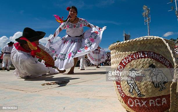 Dancers from San Pablo Macuiltianguis perform during the Guelaguetza celebration on July 27 2009 in Oaxaca Mexico The Guelaguetza is a festival held...