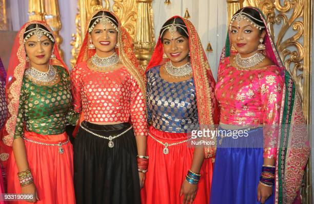 Dancers from Sathangai Narthanalaya pose before performing a traditional dance to the Ghoomar song from the Bollywood film Padmaavat during the...