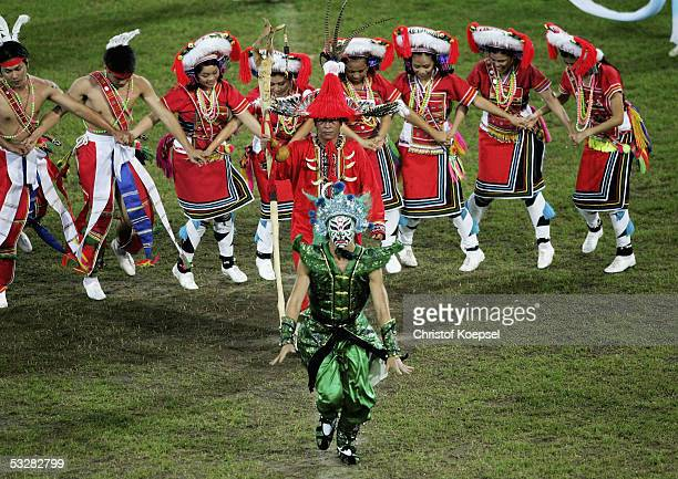 Dancers from Taiwan present the next location of the World Games as Kaohsiung in Taiwan during the closing ceremony of the World Games 2005 at the...