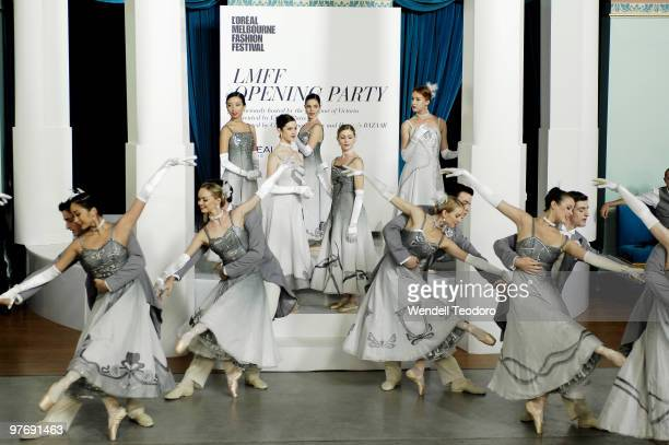 Dancers from the Australian Ballet performs at the Opening Night Party for the 2010 L'Oreal Melbourne Fashion Festival at Government House on March...