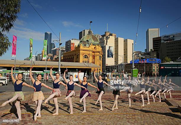 Dancers from The Australian Conservatoire of Ballet perform as they celebrate the opening of World Ballet Day Live at Federation Square on October 1...