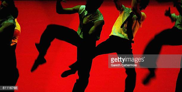 Dancers from The Bolshoi Ballet participate in a technical rehearsal of 'Romeo Juliet ' at the Royal Opera House Covent Garden on July 26 2004 in...