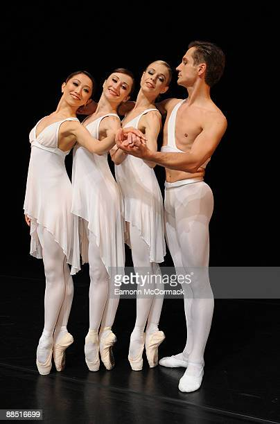Dancers from the English National Ballet performing 'Ballets Russes' at Sadler's Wells pose in their costumes designed by Karl Lagerfeld on June 16...