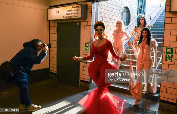 Dancers from the Friedrichstadt Palast revue who portray celebrities such as Divine Madonna Kim Kardashian and Conchita Wurst arrive at a subway...